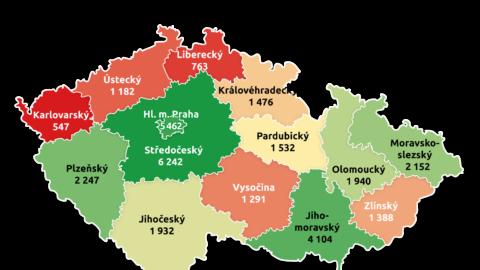 Nejvíce bytů postavily firmy ve středních Čechách. Praha je druhá, Karlovarsko poslední