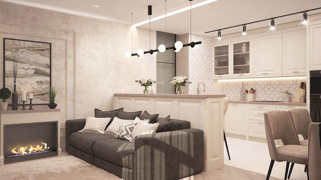 Obývací pokoj s kuchyňskou linkou - regulace nájemného - byt