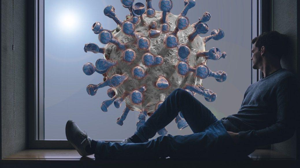 Koronavirus - muž u okna - koronakrize a nemovitosti
