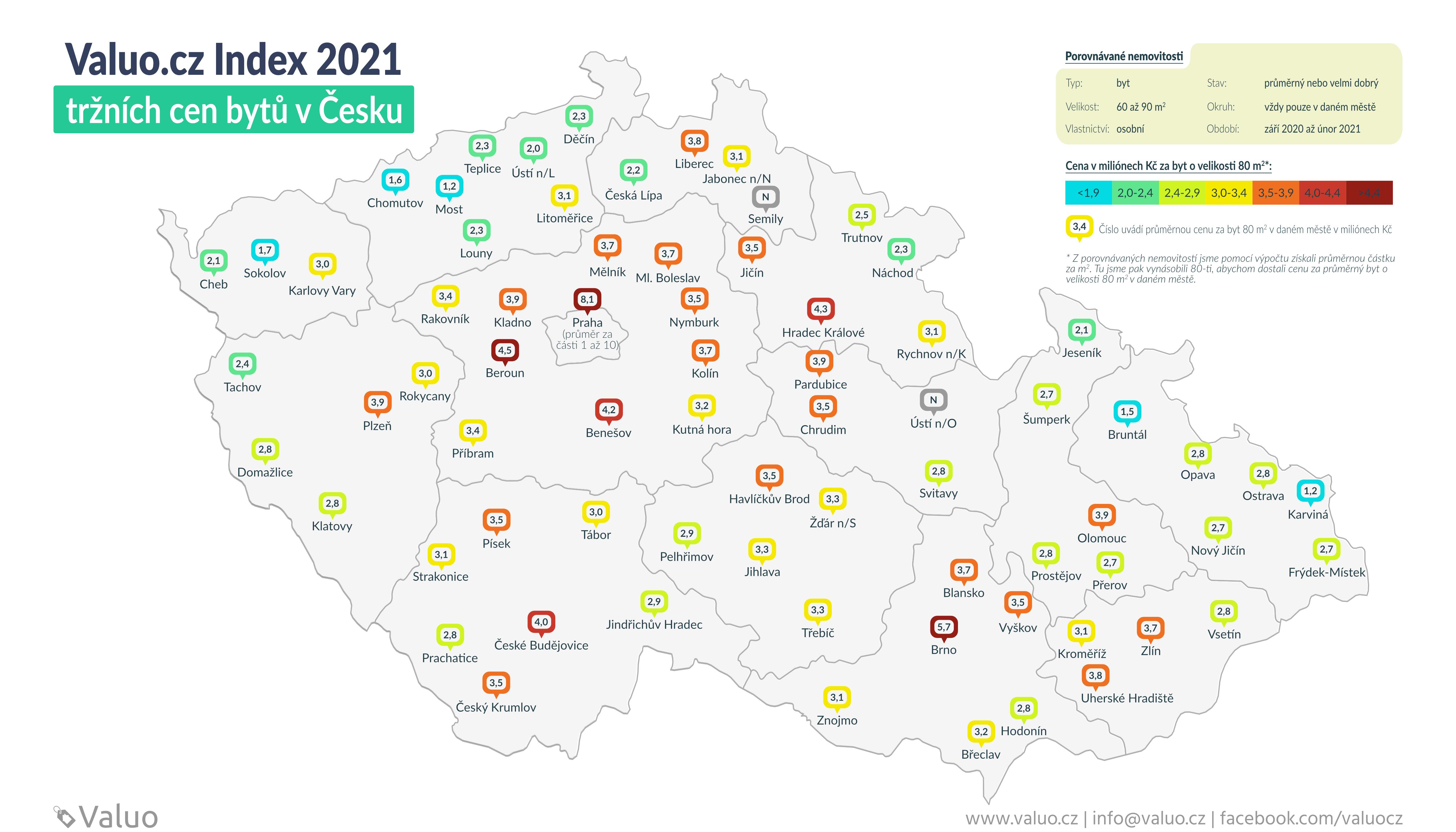 Ceny bytů v okresních městech - mapa